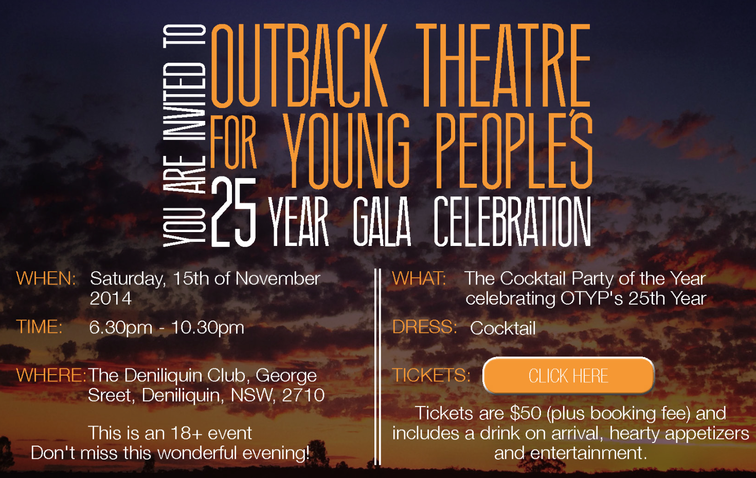 OTYP 25 Year Fundraising Gala – Tickets on Sale!